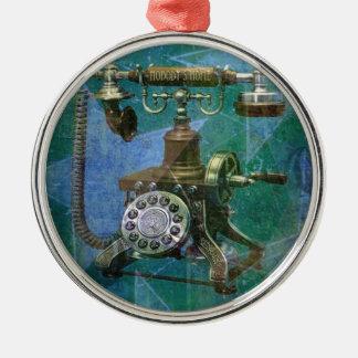 Blue Retro Phone Art. Silver-Colored Round Decoration