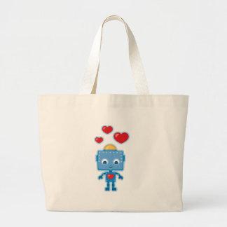 Blue retro robot Art Bags