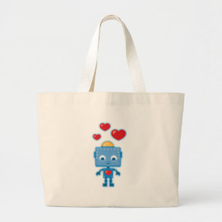 Blue retro robot Art Large Tote Bag
