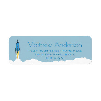 Blue Retro Rocket Ship Personalised Name Kids Boy Return Address Label