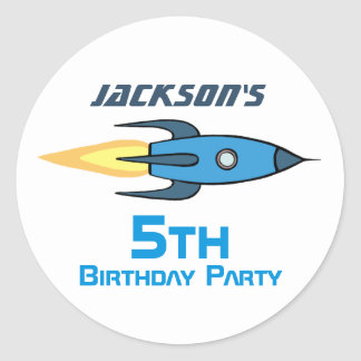 Blue Retro Rocketship Birthday Party Personalised Round Sticker
