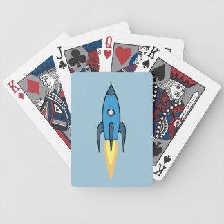 Blue Retro Rocketship Cute Cartoon Design Bicycle Playing Cards