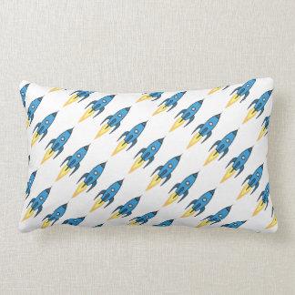 Blue Retro Rocketship Cute Cartoon Design in White Lumbar Pillow