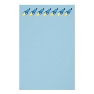 Blue Retro Rocketship Cute Cartoon Design Stationery