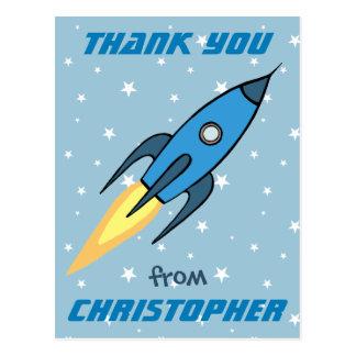 Blue Retro Rocketship Cute Personalised Thank You Postcard