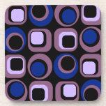 Blue Retro Squares Pattern Beverage Coaster