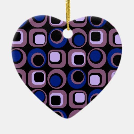 Blue Retro Squares Pattern Ceramic Heart Decoration