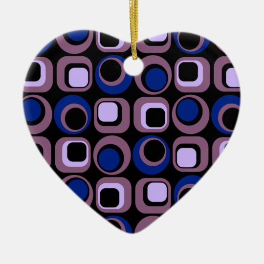 Blue Retro Squares Pattern Ceramic Heart Decoration