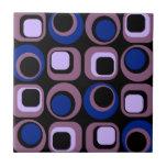 Blue Retro Squares Pattern Ceramic Tiles