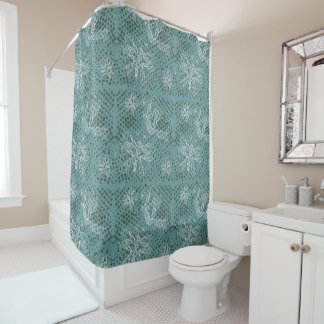 Blue retro texture with butterflies and halftones shower curtain