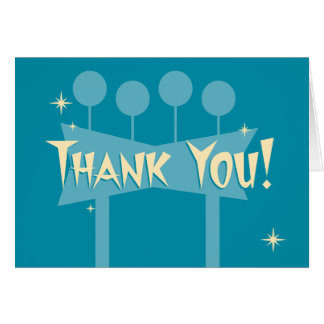 Blue Retro Thank You Notecard: MCM Bowling Sign Note Card