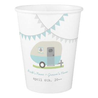 Blue Retro Trailer Wedding Cups