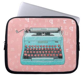 Blue Retro Typewriter on Type Background Case Laptop Computer Sleeve