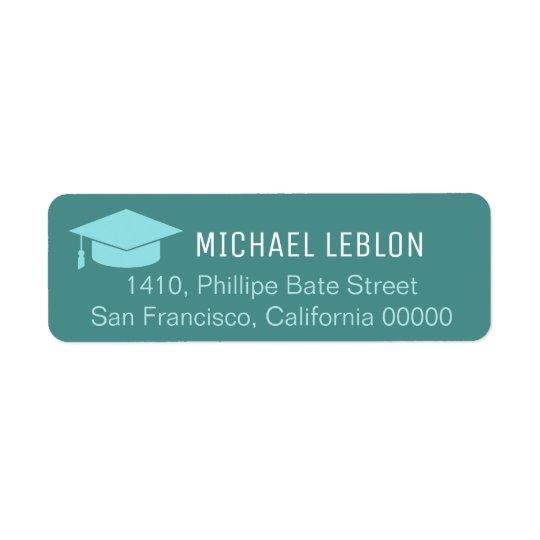 blue return address label with name graduation