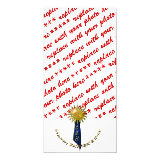 Blue Ribbon #1 Father's Day To Son Custom Photo Card