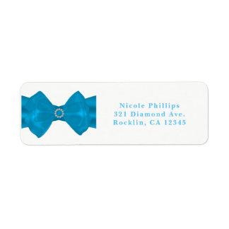 Blue Ribbon & Diamonds Bridal Shower Invitation Return Address Label