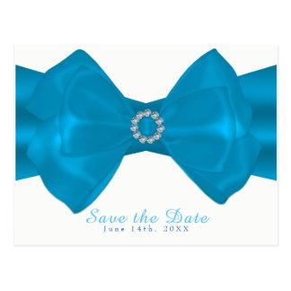 Blue Ribbon & Diamonds Elegant Glam Save the Date Postcard