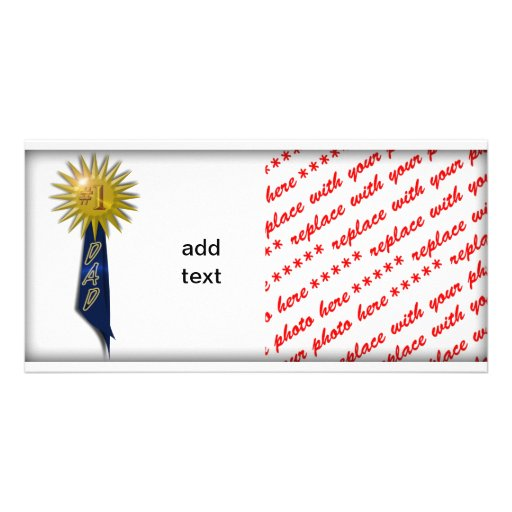 Blue Ribbon For #1 Dad Personalized Photo Card