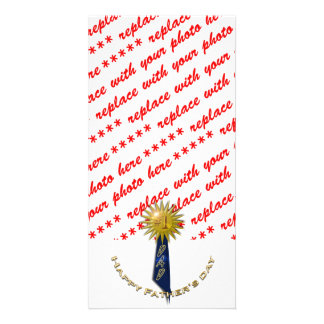 Blue Ribbon For Dad on Father s Day Customized Photo Card