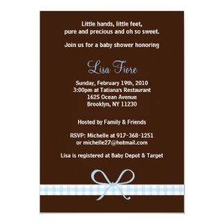 Blue Ribbon Gingham Baby Shower Invitations
