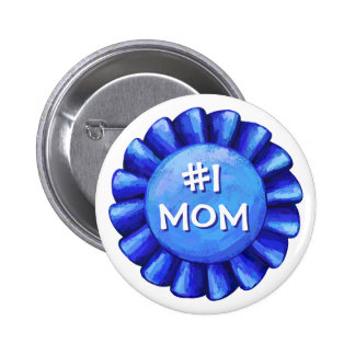 Blue Ribbon Number One Mom 6 Cm Round Badge
