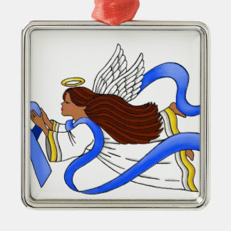 """Blue Ribbon of Awareness""  Ethnic Angel Metal Ornament"