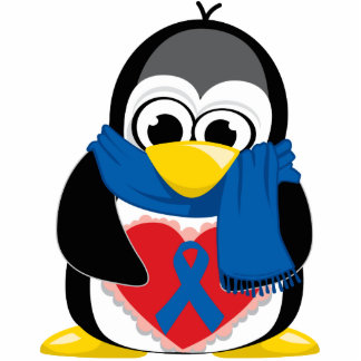 Blue Ribbon Penguin Scarf Standing Photo Sculpture