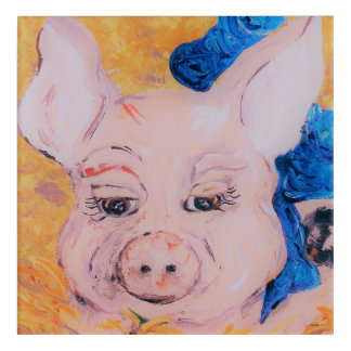 Blue Ribbon Pig Acrylic Wall Art