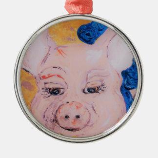 Blue Ribbon Pig Metal Ornament