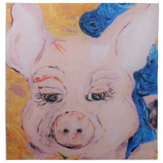 Blue Ribbon Pig Napkin