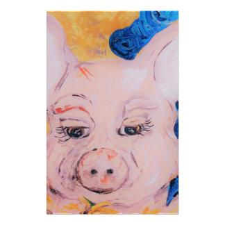 Blue Ribbon Pig Stationery