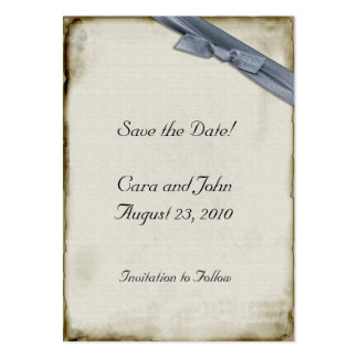 Blue Ribbon Save the Date Business Card Templates