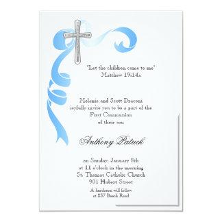 Blue Ribbon Silver Cross Communion Card