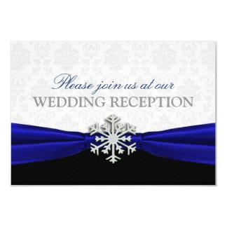 Blue Ribbon Winter Wedding Reception Card