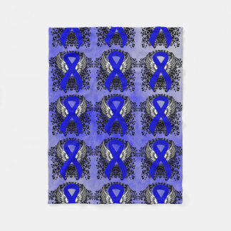 Blue Ribbon with Wings Fleece Blanket