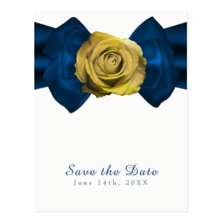 Blue Ribbon  & Yellow Rose Save the Date ANY COLOR Postcard