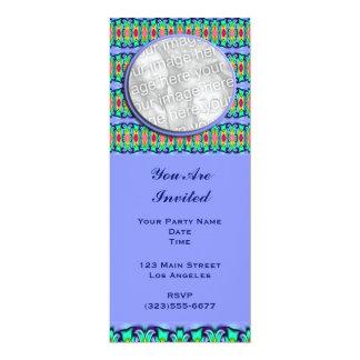 blue ribbons frame 10 cm x 24 cm invitation card