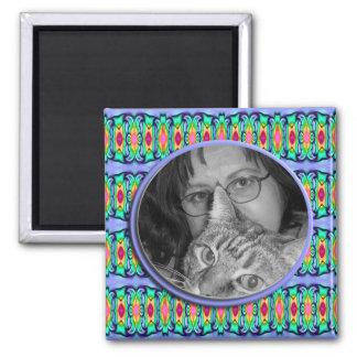 blue ribbons frame square magnet