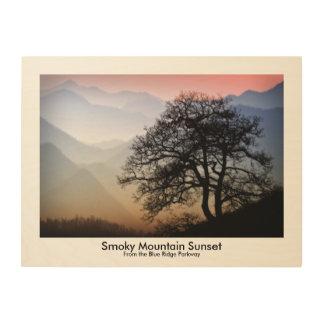 Blue Ridge Parkway Smokies Sunset Picture Wood Print
