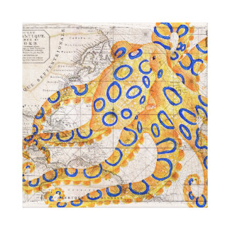 Blue Ring Octopus Map Canvas Print