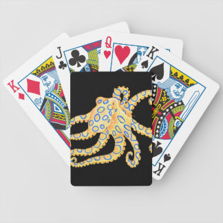 Blue Ring Octopus on Black Bicycle Playing Cards