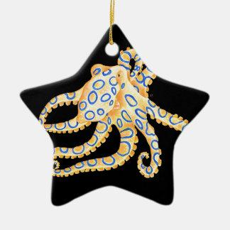 Blue Ring Octopus on Black Ceramic Ornament