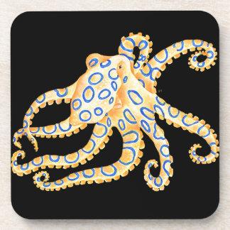 Blue Ring Octopus on Black Coaster