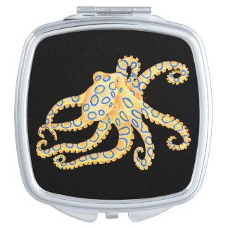 Blue Ring Octopus on Black Compact Mirror