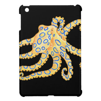 Blue Ring Octopus on Black iPad Mini Cover