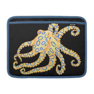 Blue Ring Octopus on Black MacBook Sleeve