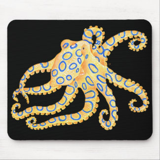 Blue Ring Octopus on Black Mouse Pad