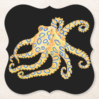 Blue Ring Octopus on Black Paper Coaster