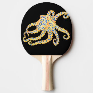 Blue Ring Octopus on Black Ping Pong Paddle