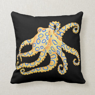 Blue Ring Octopus on Black Throw Pillow